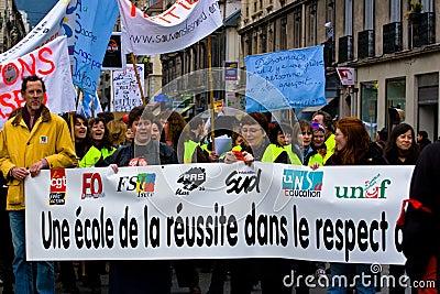 French Teachers Strike Editorial Stock Photo