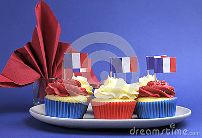 French theme red, white and blue mini cupcake cakes with flags of France