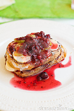 French toast with artisan bread and fresh fruits