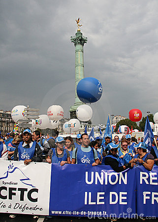 French trade union CFTC demonstrate in Paris Editorial Stock Photo