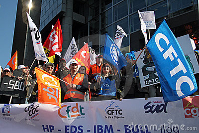 French trade unions demonstrate in Paris Editorial Image