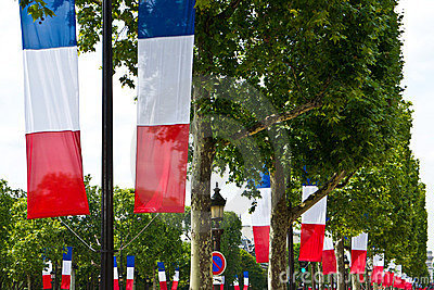 French Tricolor Flags in Paris