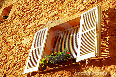 French window with white shutters