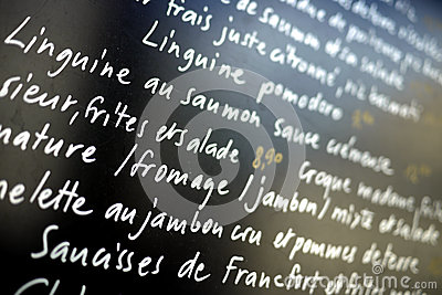 French writing on a menu
