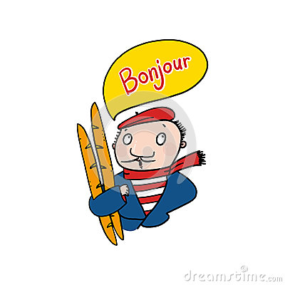 Frenchman saying bonjour illustration; Man holding baguettes drawing.