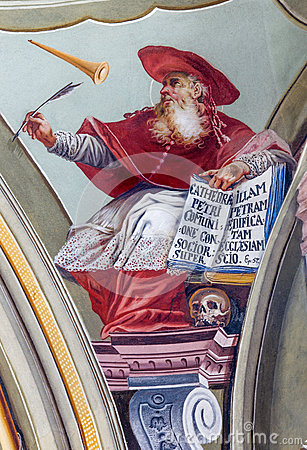 Free Fresco Of Saint Hieronymus Big Teacher Of West Church From Ceiling Of Chapel In Saint Anton Palace Royalty Free Stock Image - 40861116