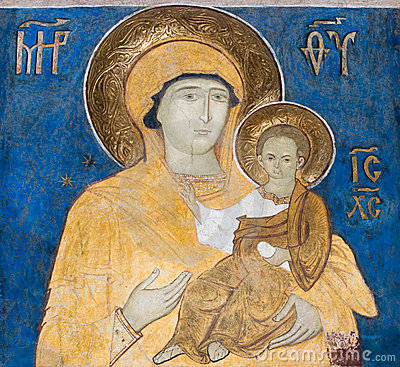 Fresco painting from Arbore Church, Romania