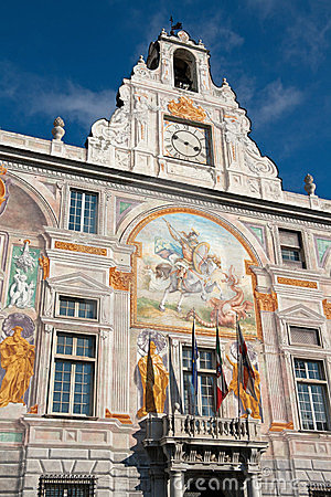 Frescoed facade detail - Palace of St. George, Gen