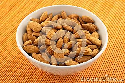 Fresh almonds in a bowl