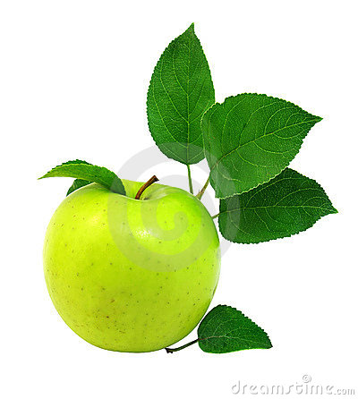Fresh apple with green leafs