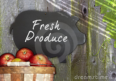 Fresh Apples & Black Pig Chalkboard Menu Grape