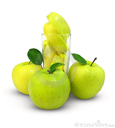 Fresh apples and glass