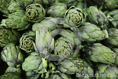 Fresh artichokes at a market