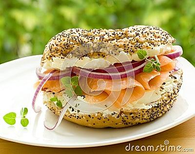 Fresh bagel with salmon
