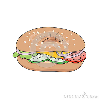 Fresh Bagel Sandwich With Cheese And Vegetables. Vector Illustration ...