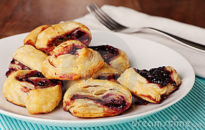 Fresh Baked Pastries With Boysenberry Jam
