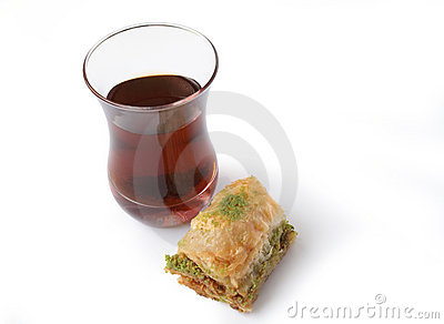 Fresh baklava and turkish tea