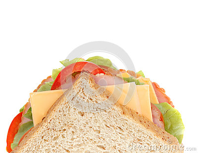 Fresh big ham cheese sandwich isolated