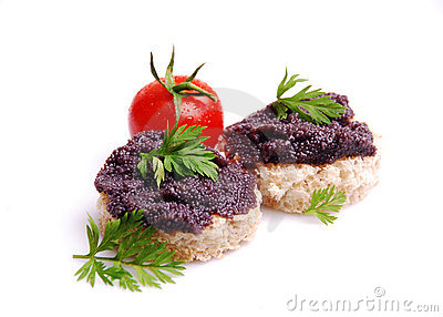 Fresh black fish caviar on the bread