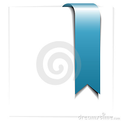 Fresh blue ribbon - bookmark