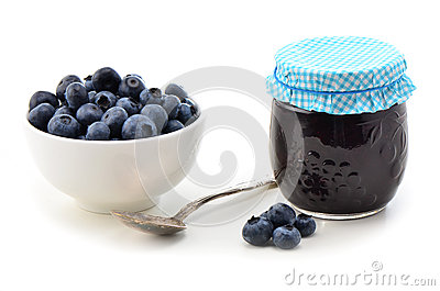 Fresh blueberries and jam