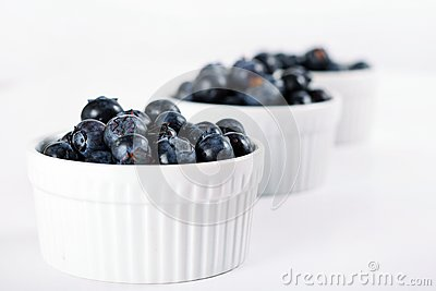 Fresh blueberries in a row