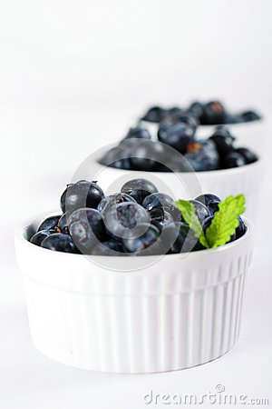 Fresh blueberries in a row vertical