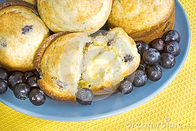 Fresh Blueberry Muffins with Butter