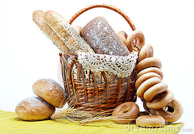 Fresh bread in the basket fully .