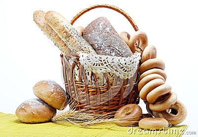 Fresh bread in the basket fully .