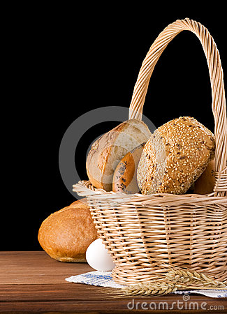 Fresh bread on black