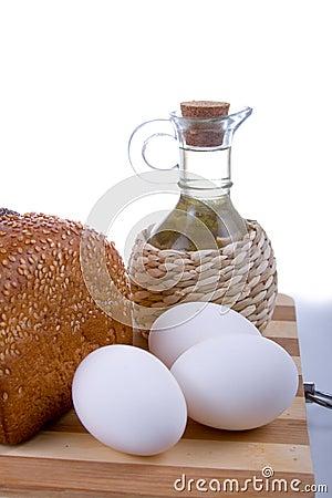 Fresh bread,  eggs,  flour  and  oil