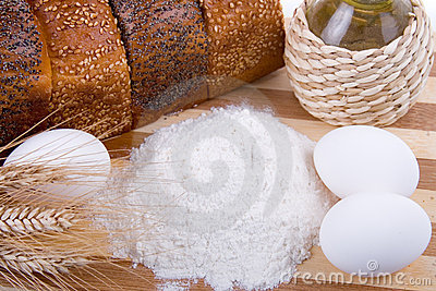 Fresh bread,  eggs,  flour  and  oil