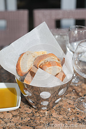 Fresh bread in metal basket