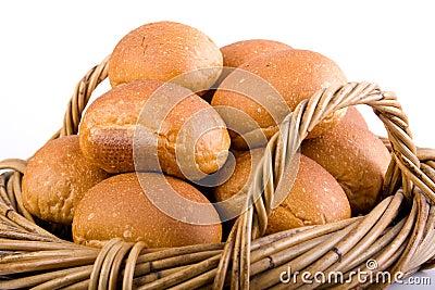 Fresh Bread Rolls In Basket