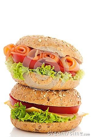 Fresh bread rolls with spread