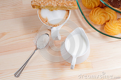 Fresh breakfast coffee and pastry