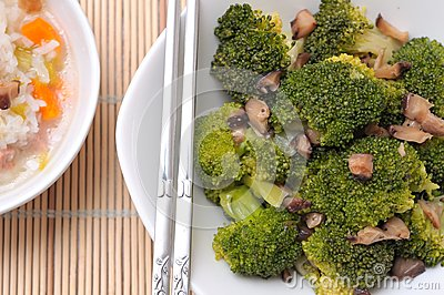 Fresh broccoli and mushroom delicacy