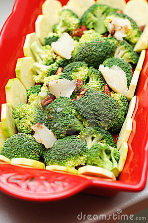 Fresh broccoli and zucchini