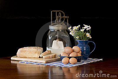 Fresh Brown Eggs and Bread
