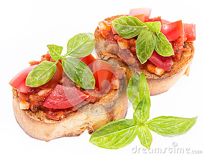 Fresh Bruschetta on white