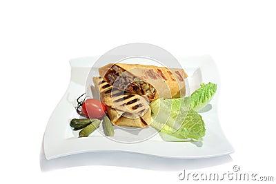 Fresh burrito with beef