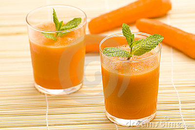 Fresh carrot juice and mint