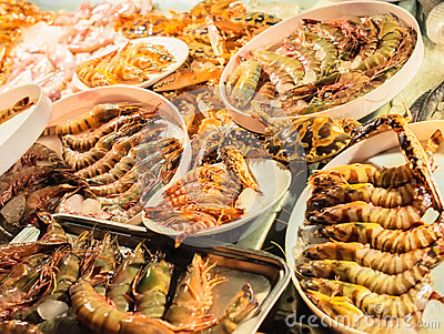 Fresh caught seafood, different types of shrimps