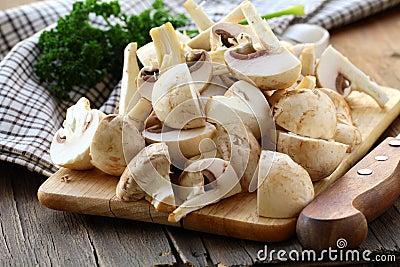 Fresh champignons mushrooms  sliced 