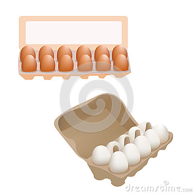 Free Fresh Chicken Eggs In Box Package Isolated On White Background Vector Illustration Icon Stock Images - 68856374