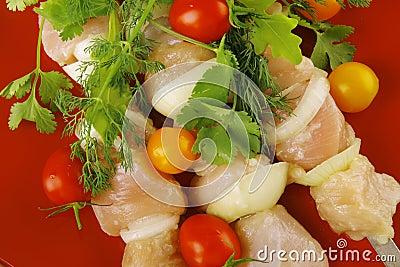 Fresh chicken kebabs on plate
