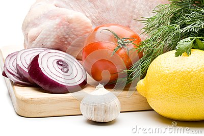 Fresh chicken with vegetables