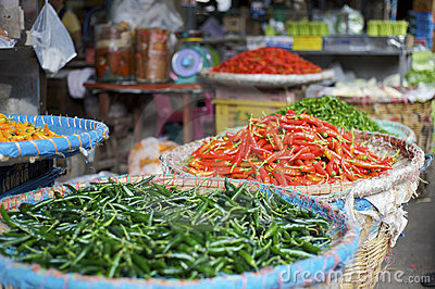 Fresh chili pepper at an asian street market
