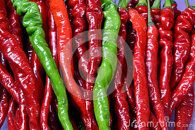 Fresh chili in red and green